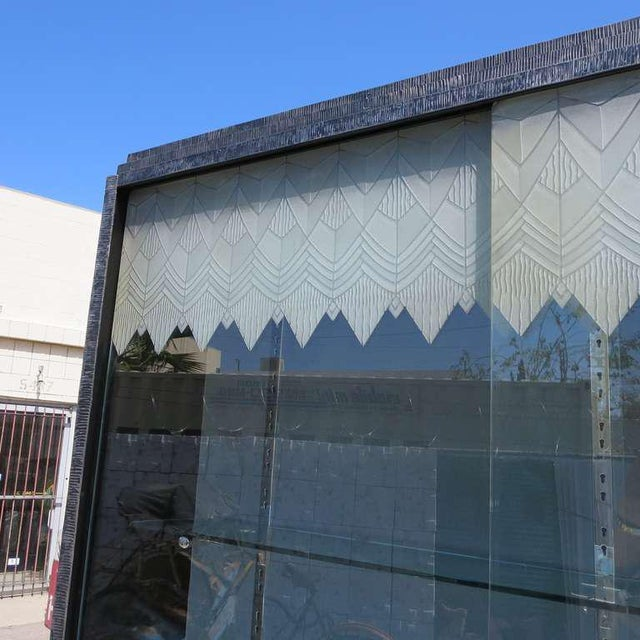 Black Art Deco Showcase With Lalique Glass Doors For Sale - Image 8 of 11
