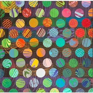 Modern Hand-Printed Paper Collage on Canvas by Beth Weintraub For Sale