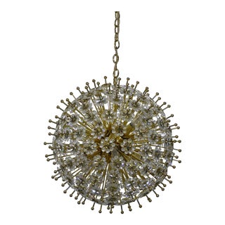 Mid-Century Swarovski Crystals & Brass Starburst Chandelier For Sale