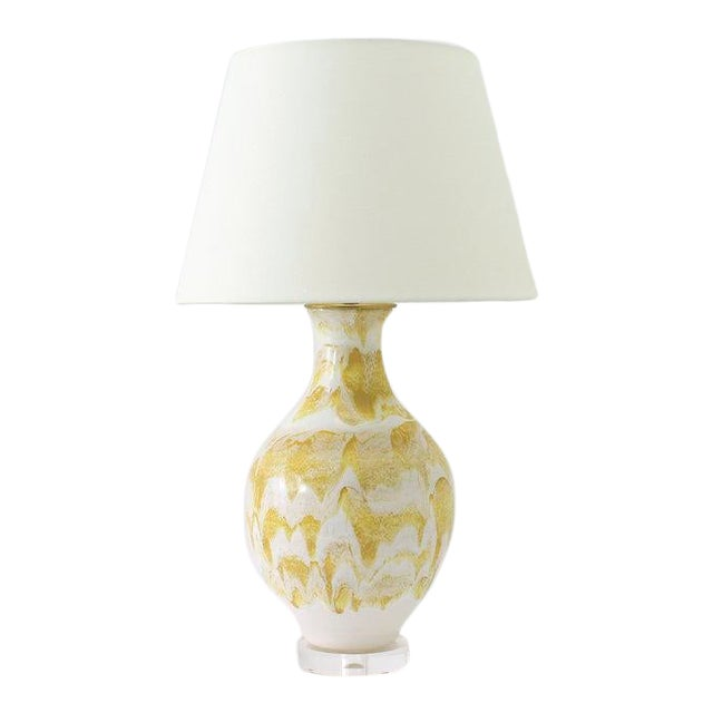 """Paul Schneider Ceramic """"Athens"""" Lamp in Drip Banded Mustard Glaze For Sale"""