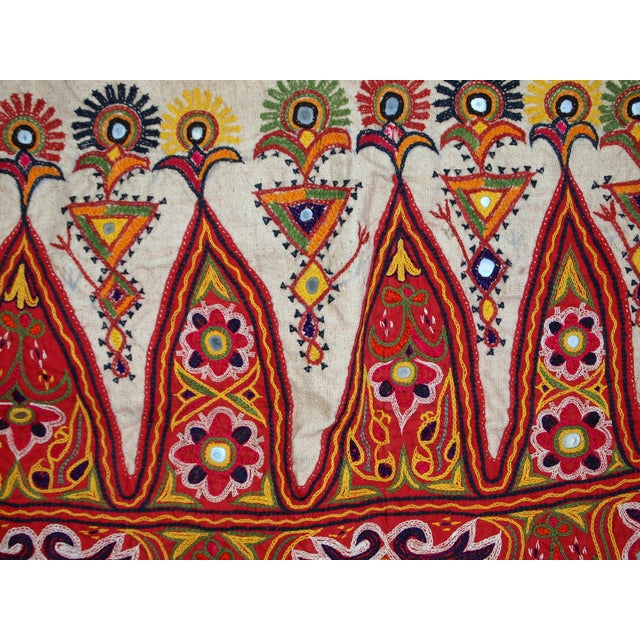 Cotton 1950s Indian Embroidered Wall Tapestry For Sale - Image 7 of 10