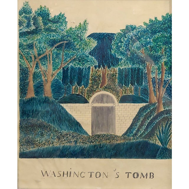 Folk Art Early 19th Century Painting of George Washington's Tomb For Sale - Image 3 of 7