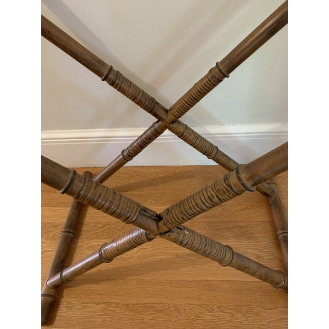 1960s 1960s Mid Century Faux Bamboo and Rattan Folding Tray Table For Sale - Image 5 of 12