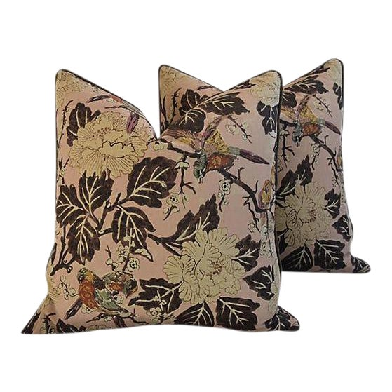 """Custom Chinoiserie Floral & Birds Feather/Down Pillows 26"""" Square - Pair For Sale"""