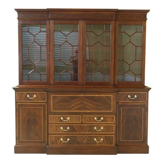 Henkel Harris Large Mahogany Breakfront Bookcase Cabinet For Sale
