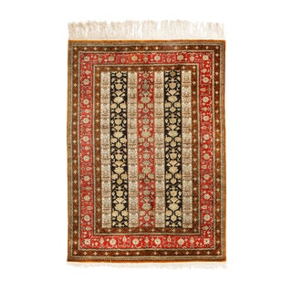 1930s Vintage Qum Brown Beige and Red Silk Persian Rug- 3′6″ × 5′6″ For Sale