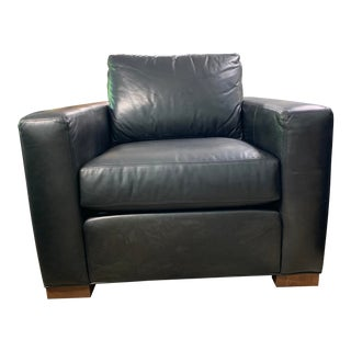 Ethan Allen Black Leather Club Chair For Sale