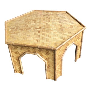Boho Chic Ficks Reed Pagoda Cocktail Table For Sale