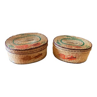 Vintage 1950s Sweetgrass Lidded Baskets - a Pair For Sale