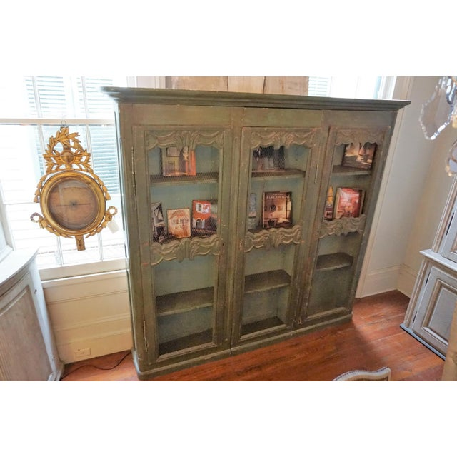 Brown 19th Century French Chicken Wire Painted Bookcase For Sale - Image 8 of 12