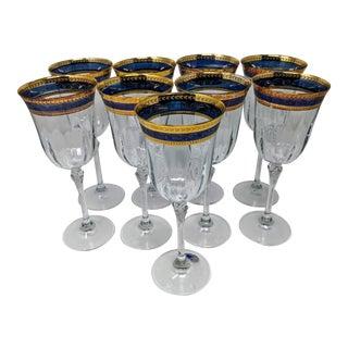 Vintage Italian Crystal Stemmed Wine Glassware Set - Set of 9 For Sale