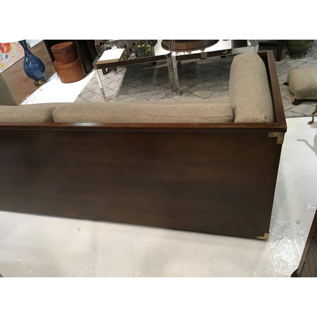 Brass Campaign Style Sofa W/ Three Drawers For Sale - Image 7 of 8