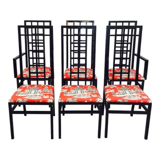 Vintage Lattice Back Lacquered Dining Chairs - Set of 6 For Sale