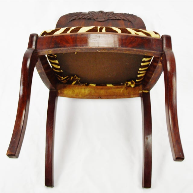 Vintage Victorian Style Side Chair With Animal Print Cushion For Sale - Image 11 of 13