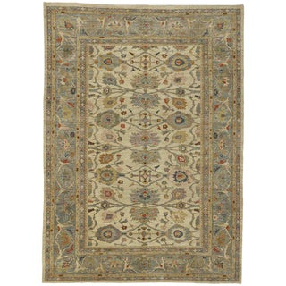 Contemporary Persian Sultanabad Area Rug - 10′ × 13′10″ For Sale