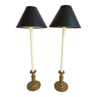 Antique French Bronze Louis XVI Style Buffet Lamps-A Pair For Sale