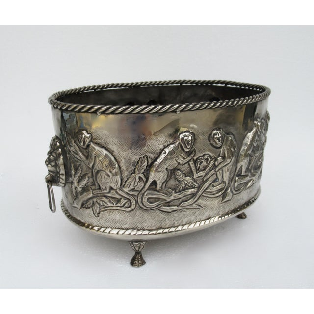 Metal Castilian Hammered Silver Monkey Embossed Centerpiece Jardiniere, Planter For Sale - Image 7 of 13