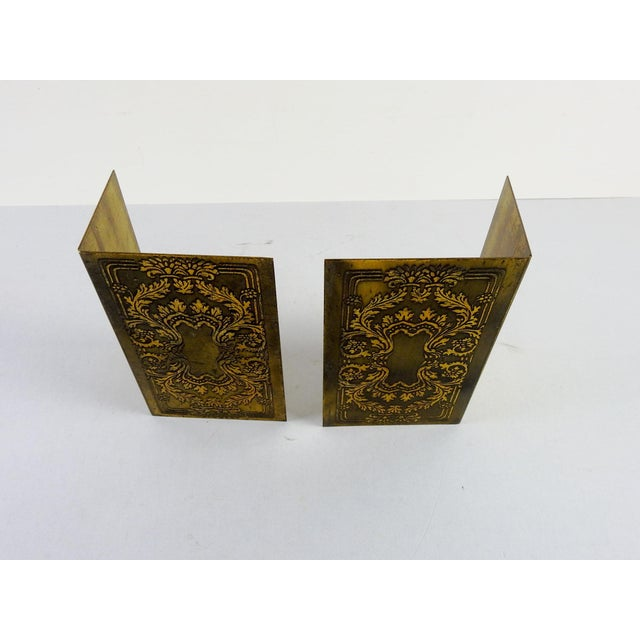 Brass Etched Classical Renaissance Design Bookends - A Pair For Sale - Image 5 of 5