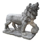 Image of Carved Stone Medici Lion Statue From Italy For Sale