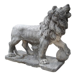 Carved Stone Medici Lion Statue From Italy For Sale