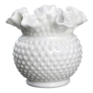 Vintage Hobnail Milk Glass Double Crimped Vase For Sale