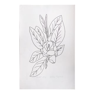 "Original Vintage 1978 Black and White Botanical ""Sweet Bay"" Drawing Unframed on Paper Signed Betsey Tryon For Sale"