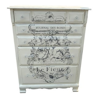 1960s Shabby Chic White Maple Highboy Dresser