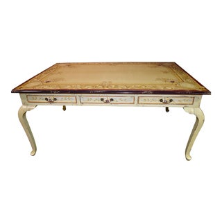 Vintage Distressed Tuscan Style Paint Decorated Dining/Library Table/Desk Table For Sale