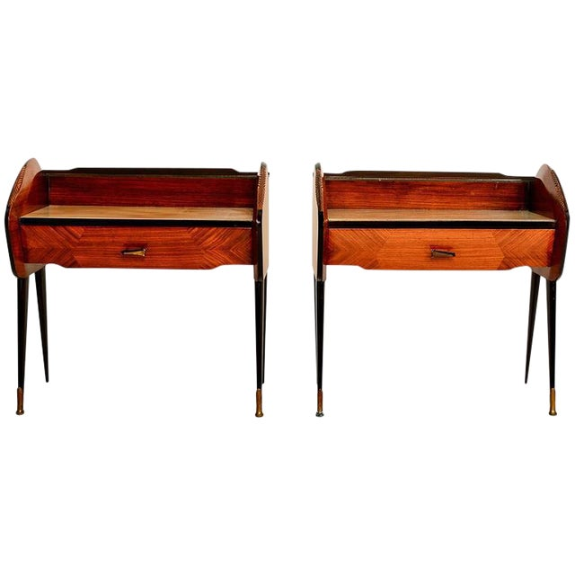 Mid-Century Modern Pair of Italian Nightstands For Sale - Image 3 of 10