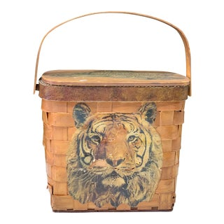 Big Cat Painted Basket-Palm Beach Regency For Sale