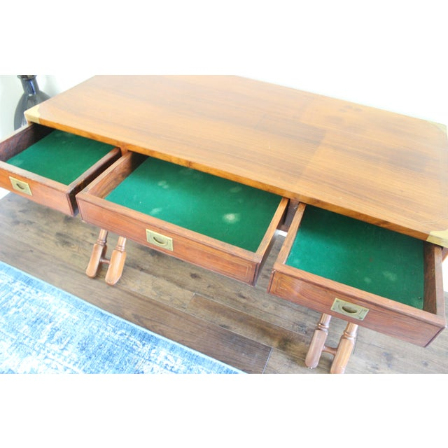 Campaign Style Rosewood & Brass Inlay Desk For Sale - Image 7 of 8
