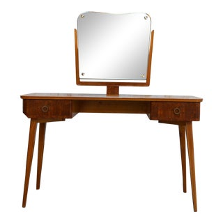 Elm Dressing Table Vanity With Burl Elm Accents and Inlay For Sale