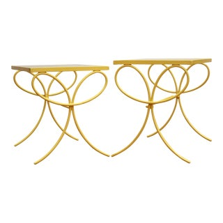 Nesting Patio Tables in Yellow, Set of 2