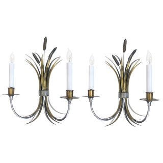 Pair of French Nickel, Brass and Bronze Sconces of Tied Cattails, Maison Charles For Sale