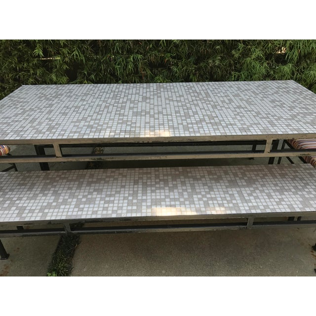 Iron & Mosaic Tile Dining Set - Set of 5 - Image 11 of 11