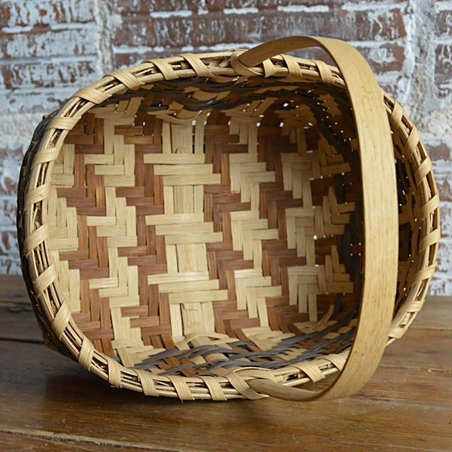Carol Welch Cherokee White Oak Small Market Basket For Sale - Image 9 of 9