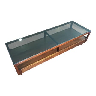 1960s Mid -Century John Keal for Brown Saltman Smoked Glass and Walnut Long Coffee Table For Sale