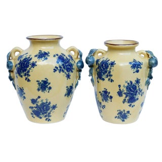 Baum Bros Ceramic Vases in Yellow & Blue, a Pair For Sale