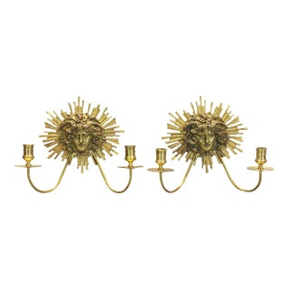 Neoclassical Gilt Bronze Candle Sconces - A Pair For Sale