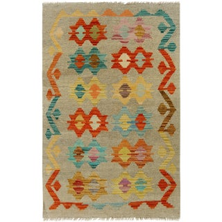 Kilim Arya Carmelit Gray/Red Wool Rug -2'7 X 4'0