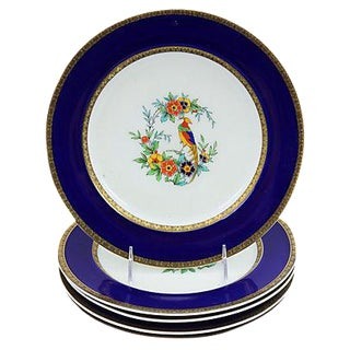 Minton Hand-Painted Parrot Plates, S/5 For Sale