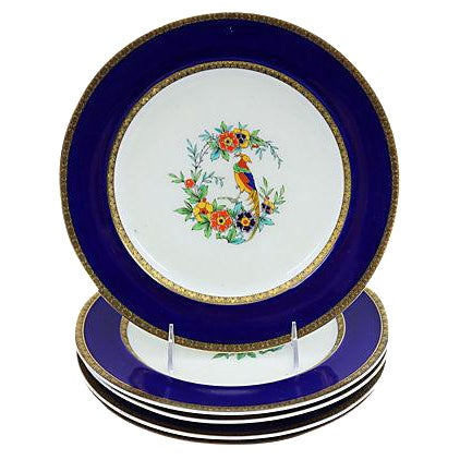 Minton Hand-Painted Parrot Plates, S/5 - Image 1 of 3
