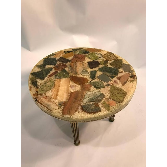 An unusual Italian specimen side or accent table with beautiful stone and resin top and brass, fluted legs, circa 1970....