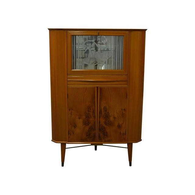 Mid-Century Scandinavian Corner Bar Cabinet For Sale