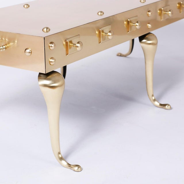 Midcentury Six Legged Brass Coffee or Cocktail Table For Sale - Image 4 of 9