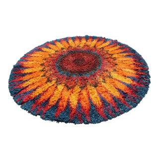 1970s Mid-Century Modern Large Starburst Flower Circular Shag Rug Rya Style - 8′7″ × 8′7″ For Sale