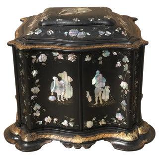 19th C. English Papier Mache Jewelry Box For Sale