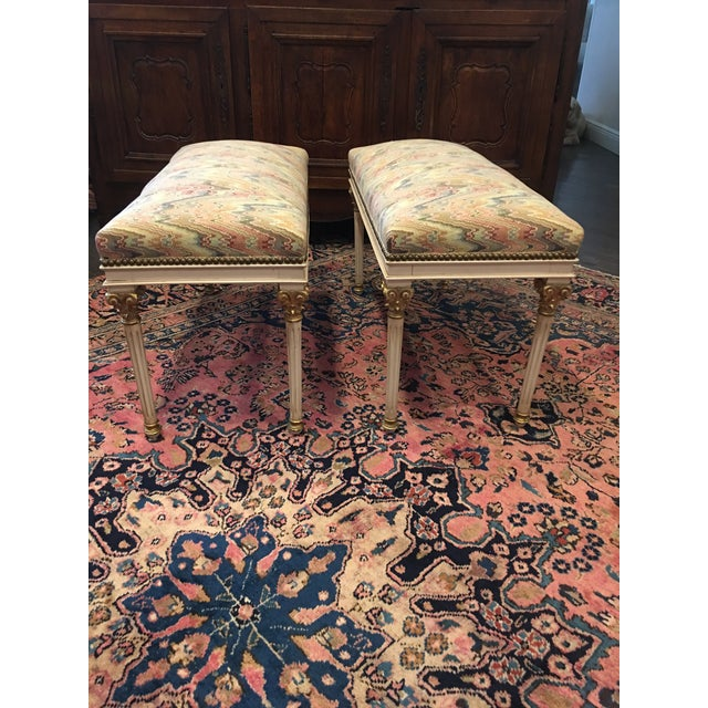 """These benches are an identical pair. They measure 31.5 """" long, height is 19""""and depth is 14"""". They are in great condition..."""