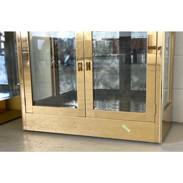 1970s Art Deco Mastercraft Brass and Glass Display Cabinets-a Pair For Sale - Image 10 of 11