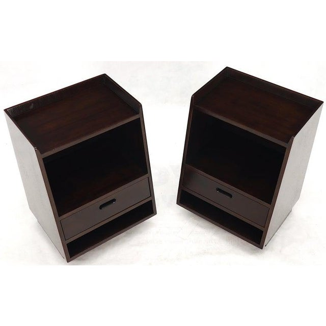 Pair of Edward Wormley for Dunbar Dark Chocolate End Tables Nightstands For Sale - Image 10 of 13